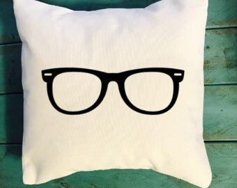 Hipster glasses throw pillow, Dorm Room throw pillows, dorm room decor