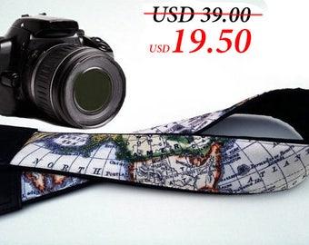 Map Camera Strap. World map: Australia, North America, Africa. Black DSLR Camera Strap. Camera accessories. Personalized gift by InTePro