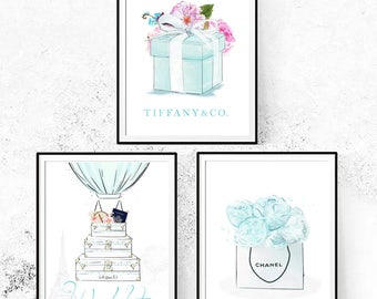 Tiffany and Co Set. Chanel Print. Tiffany and Co Print. Paris Print. Set of 3 Watercolor Prints. Limited Edition.