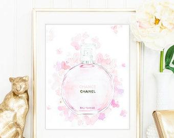 Chanel Print. Fashion Print. Fashion Illustration. Perfume Bottle Print. Watercolor artwork. Fashion Illustration. Modern Home Décor.