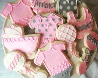 1 dozen sweet baby girl shower cookies!