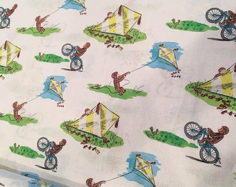 Curious George on White Man with the Yellow Hat cotton woven fabric
