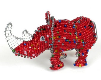 Hand-Beaded Rhino Sculpture