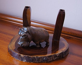 Vintage Office Desk Accessory Wooden Hippo and 2 Wooden  Pen Holders.
