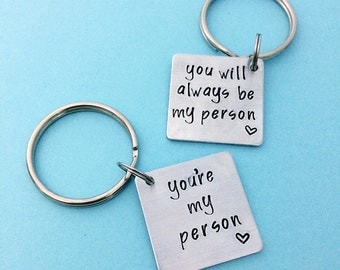 youre my person, you will always be my person, set of 2 anniversary gift keychains, best friend keychain set