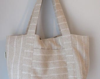 Market tote bag, beach bag, farmers market bag, linen bag, stripey bag