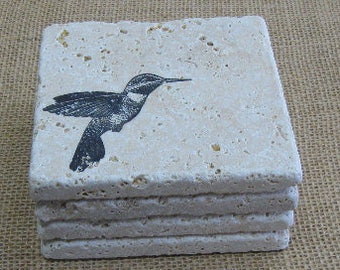 Hummingbird coasters, natural stone tile, set of 4, tumbled travertine, hand stamped tiles, rustic charm barware, stone drink coasters