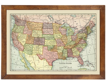 Map of United States 1908; 24x36 Print from a Vintage Lithograph