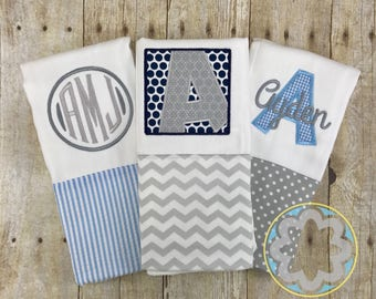 Baby Boy Gift Set - set of 3 personalized, monogrammed burp cloths - baby gift - baby shower gift, gray and blue