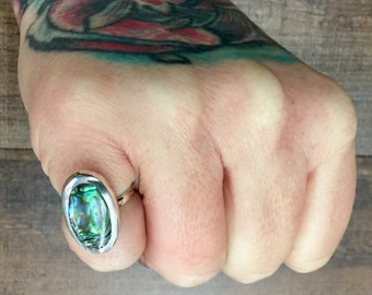 Vintage Mexican Abalone + Sterling Silver Ring Size 4.75