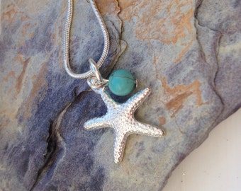 Silver plated starfish and 6mm turquoise gemstone