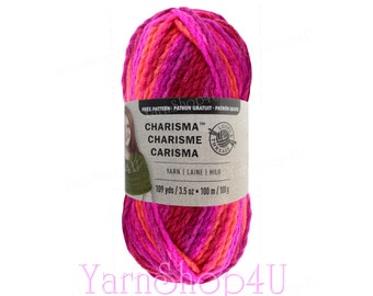 BRIGHT POP Bulky Charisma Loops and Threads Yarn. Bright Pink Purple Orange Ombre Yarn is 3.5oz 109yd. Thick Chunky Variegated Soft Acrylic.