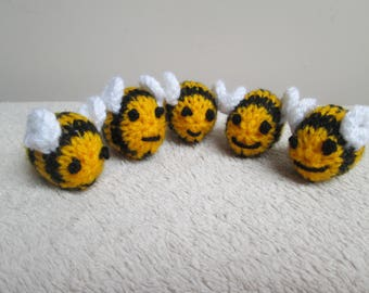 Hand Knitted Bumble Bees ~ Craft Embellishment ~ Toy ~ Plushie ~ Ready To Ship