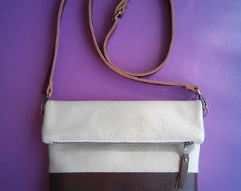 Brown leather Bag, Crossbody Bag, Everyday Shoulder Bag.