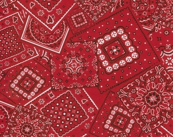 Red Bandana Fabric, Moda Bunk House 15490 40 Red Western Quilt Fabric, Cotton Quilt Fabric Yardage