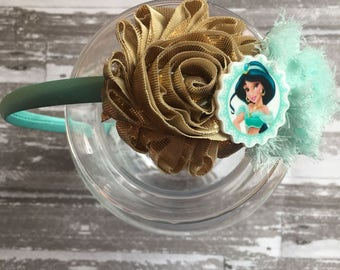 FREE  SHIPPING - Princess Jasmine Headband - Jasmine hair bow- Jasmine Birthday Party - Jasmine Birthday Party