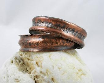 Copper Cuffs Set, Copper Bracelets, Twin Bracelets Set, Copper Jewelry Handmade, Hammered Cuff Bracelets, Twin Statement Bracelets Set