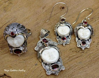 925 Silver Naya Goddess Earrings, Ring & Pendant Set with Garnet + Free Silver Chain NJS-140