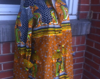 african print blouse Large