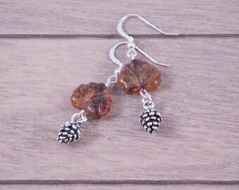 Acorn Dangle Earrings - Leaf Earrings - Gift for Her - Fall Jewelry