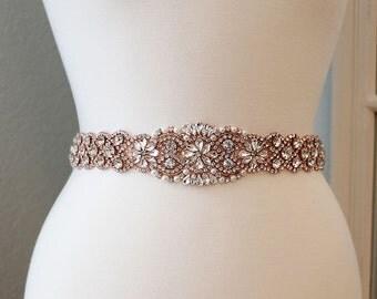 Rose Gold Bridal Sash, Wedding Dress Belt, Rhinestone Pearl Bridal Sash, Crystal Sash Belt, Wedding Dress Belt, Rose Gold Bridal Sash 0887