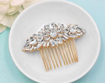 Gold Crystal Wedding Comb, Crystal Rhinestone Bridal Comb, Bridal Hair Comb, Pear Oval wedding comb, Rhinestone Comb 498779702
