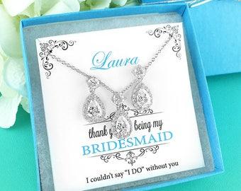 Bridesmaid Jewelry Set, Crystal Bridesmaid Necklace Set, Bridesmaid Jewelry Gift, bridesmaid jewelry set, jewelry set 286525983