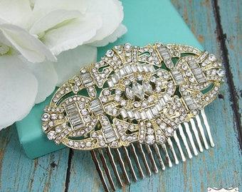 SALE Ends Sunday Gold Art Deco Bridal Comb, Rhinestone Comb, Bridal Comb Crystal, Wedding Crystal Hair Comb, Wedding Accessory, Bridal Headp
