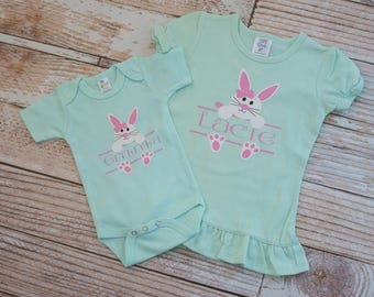 Personalized Mint Green Easter Sibling Set Easter Bunny Sisters Shirts