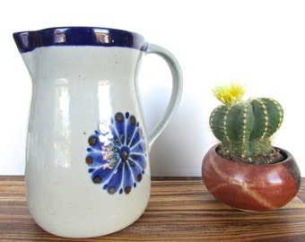 Vintage El Palomar Pitcher, Tonala Burnished Pottery Water Pitcher, Ken Edwards Mexican Folk Art