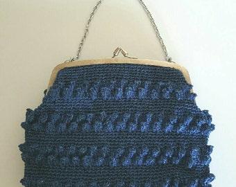 FINAL CLEARANCE Vintage 1960s Electric Blue Lurex Raffia Woven Purse Handbag