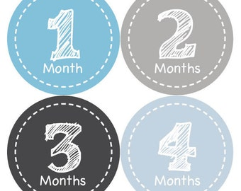 Monthly Baby Stickers Baby Boy Month Stickers Baby Boy Month Stickers Monthly Photo Milestone Stickers Monthly Milestone Stickers