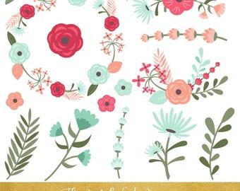 Floral Clipart Set - Aqua Pink Wreaths & Flowers - INSTANT DOWNLOAD - 36 .PNG Files