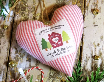 Personalised 'First Christmas in our New Home' Decoration / Ornament. Scented Tree Decoration. Gift Boxed. Choice of Fabrics