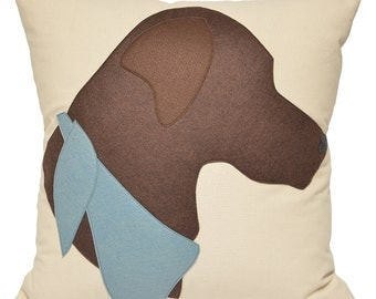"21"" Chocolate Labrador Pillow, Chocolate Lab, dog pillow, brown dog, Decorative Pillow,  labrador retriever, The Salty Cottage"