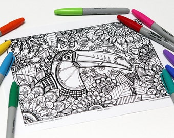 Mandala coloring, drawing #0592 printed on cardboard, coloring of relaxation, toucan