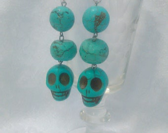 Stone Skull Drop Earrings