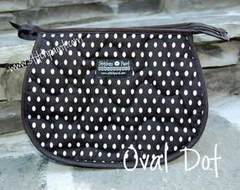 Quilted and Lined Cosmetic Bag - Oval Dots