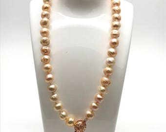 Freshwater pearl Edison pearl necklace 11-12 mm,Genuine Pearl Necklace, Handmade Jewellery