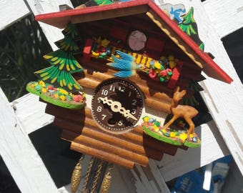 Vintage Miniature Cuckoo Clock, West Germany