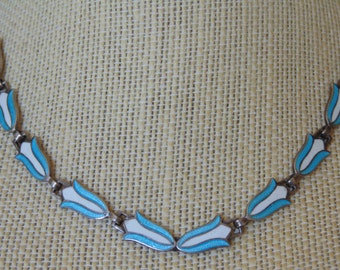 Margot De Taxco ~ Vintage Sterling with Light Blue and White Enamel Tulip / Flower Necklace