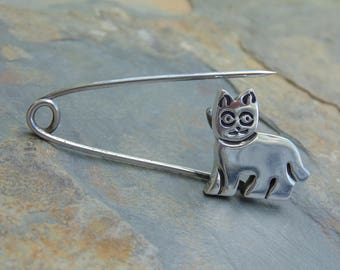Vintage Mexican Sterling Silver Cat Diaper Pin -10 Grams.