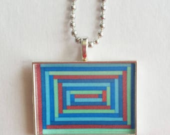 Blue Orange Charm, Geometric Jewelry, Resin Pendant, Sea Foam Green, Funky Necklace, Gift For Her, Silver Bezel, 18 Inch Chain
