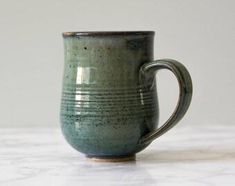 Coffee Mug / Dad Mug / Green Blue Pottery Mug / Pottery Gift / Stoneware Mug / Ceramic Handmade Mug / 10oz Mug / Gift for Wife Mug