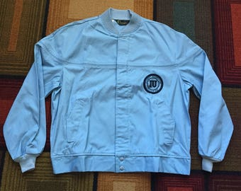 Vintage 70s Indiana Student Foundation Champion Cycling IU Little 500 Jacket Large Hoosiers University Bike Race