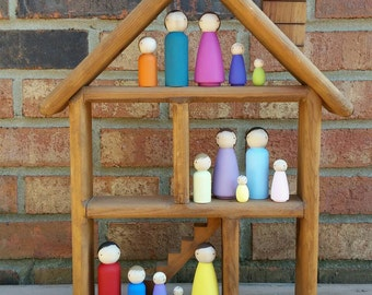 READY TO SHIP - Doll House Family Peg Doll Play Set - 5 Pegs, Choice of Colors