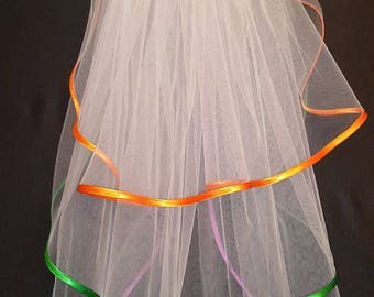 White Wedding Veil, Three Layers, Orange, Green and Purple Satin Edging.
