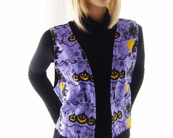 Vest, purple vest, top, ladies, women clothing, handmade, gift, Halloween, Christmas, holidays, for her, autumn