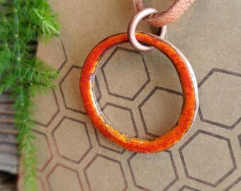 Circle Enameled Pendant Necklace