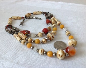 Ethnic Tribal Necklace. Bone, natural stone resin beads. Three Strands. Colored Vintage African Bedouin berber nomadic Boho Necklace.HW84